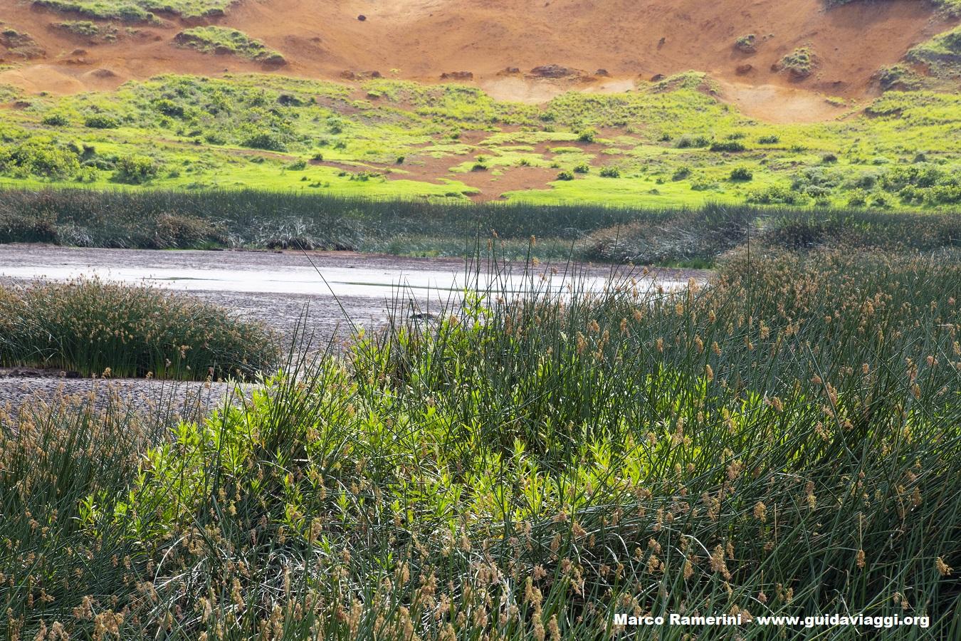 El interior del cráter Rano Raraku, Isla de Pascua, Chile. Autor y Copyright Marco Ramerini
