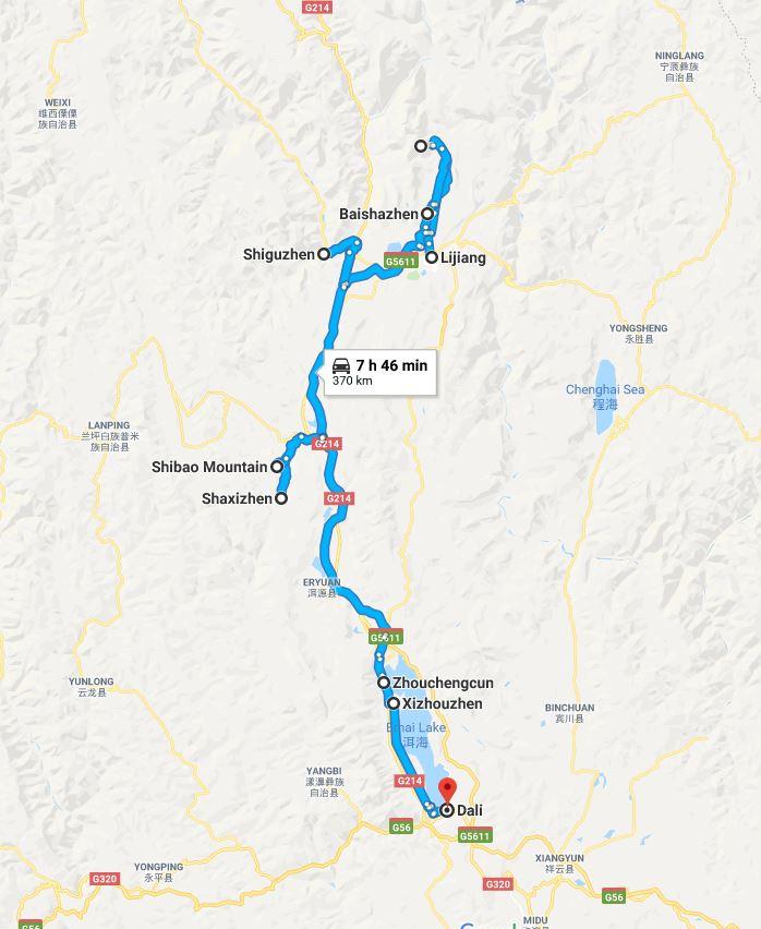 Mapa del viaje a Yunnan, parte norte