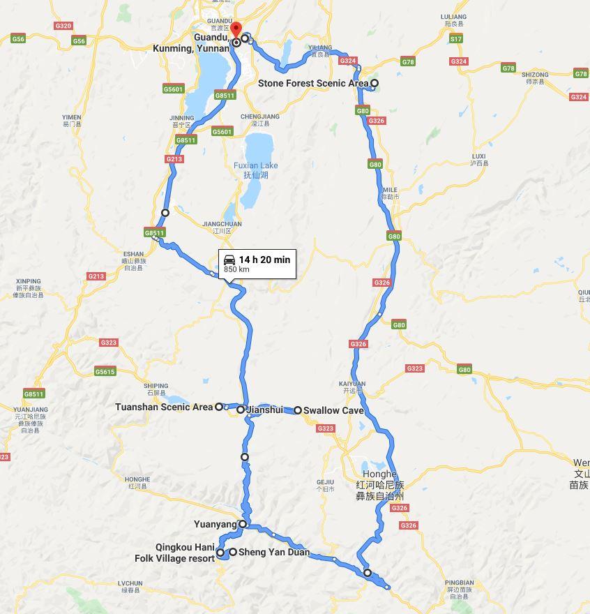 Mapa del viaje a Yunnan, parte sur