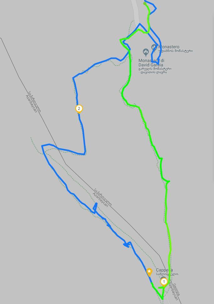 Mapa del camino a las cuevas de Davit Gareja