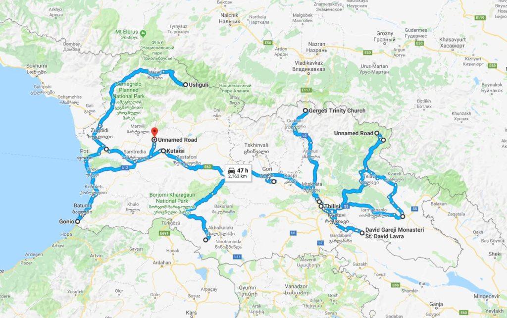 Mapa del viaje a Georgia