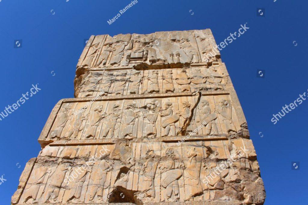 Persépolis, Irán. Palacio de 100 columnas. Persépolis, la capital ceremonial del Imperio persa (Imperio aqueménida). Autor y derechos de autor Marco Ramerini,.