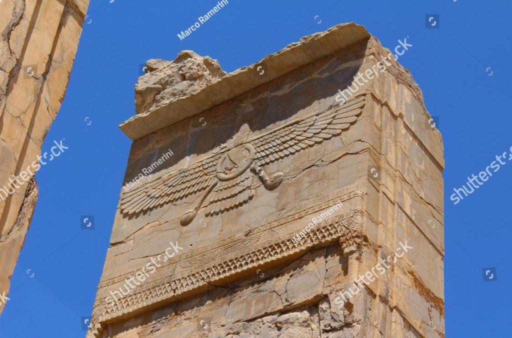 Persépolis, Irán. Símbolo del zoroastrismo. Ruinas de la capital ceremonial del imperio persa (imperio aqueménida). Autor y derechos de autor Marco Ramerini