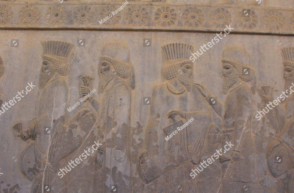 Irán. Un bajorrelieve de la Apadana. Ruinas de la capital ceremonial del imperio persa (imperio aqueménida). Autor y derechos de autor Marco Ramerini