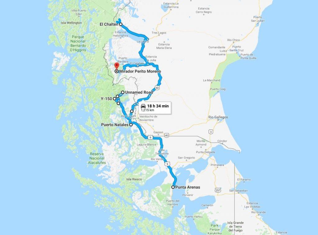 Mapa del viaje fotográfico a la Patagonia
